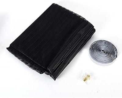 Yiyu Mosquitera Puerta con Fijación Magnética, Sin huecos Manos libres Velcro de Encuadre Completo Cortina Magnética de Malla para Puerta Anti Mosquitos Insectos Moscas - Color Negro, 90 x 210 cm