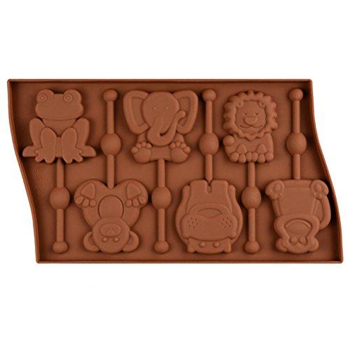 BESTONZON 6 Hohlraum Silikon Tier Lollipop Form Frosch Affe Schokoladenformen Candy Kuchen Schablone Backen Zubehör Dekorieren Tools (gelegentliche Farbe) (Affe Schokoladenform)