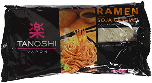 Tanoshi Ramen Nouilles Japonaises Précuites avec Assaisonnement Soja Caramel 360 g - Lot de 9