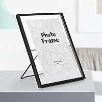 SMAQZ Photo Frame, Nordic Metal Photo Frame Set Personality European Glass Photo Frame 22.5 * 15Cm Black Bracket C