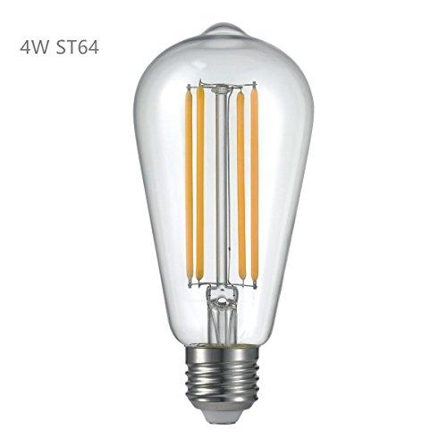 ALK 4W ST64E27tornillo Classic LED de intensidad regulable bombilla de filamento blanco cálido 2700K GLS ES LED Vintage Edison Bombilla 40W incandescente de repuesto