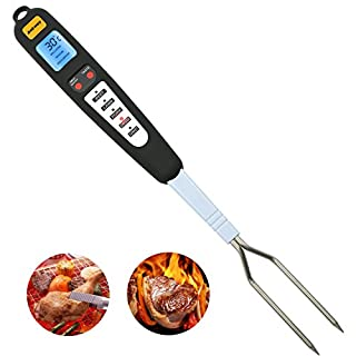 Waterproof Digital Meat Fork Thermometer, Ankway Ready Alarm Instant Read Cooking Thermometer with Long Stainless Steel Fork for Kitchen BBQ, Chicken Turkey Lamb Beef Pork Fish Veal (Safe Long Probe)