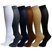 6 Pares Rodilla Alta Calcetines de Compresión - para Hombres y Mujeres (15-20mmHg) Diseño Cómodo Ideales para El Uso Diario, Correr, Embarazo, Vuelos y Viajes de