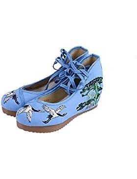 lazutom donne casual Vintage ricamo suola in gomma con cunei scarpe ragazze