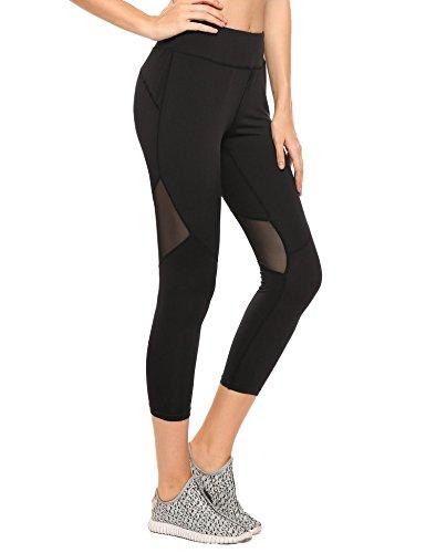 Coorun Donna Pantaloni Di Sport Yoga Casuali Elastici Sottili Vita Della Moda Nero