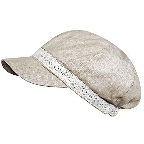 Ballonmütze Damen uni mit Bordenband Schirmmütze Sommermütze Schildmütze (Beige)