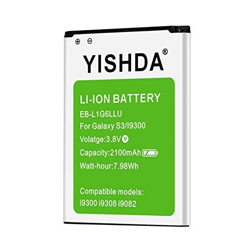 YISHDA Galaxy S3 Akku 2100mAh Li-Ion Ersatz Akku für Samsung Galaxy S3, EB-L1G6LLU, Verizon I535, T-Mobile T999, Sprint L710, at&T I747, R530, LTE I9305, S3 Neo Akku [Nicht für S3 Mini]