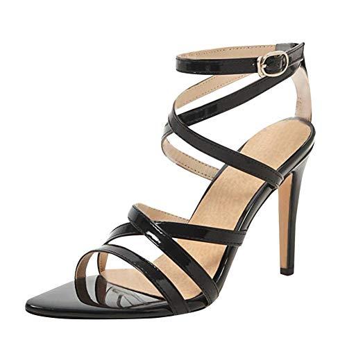 MRXILX Damenmode Sandalen,Frauen Wies Patent Farbe Knöchel Schnalle High Heel Sandalen Casual Sexy Hochwertige Super Hoch 8 cm-Up Damen Schuhe (Sandale Patent Schnalle)