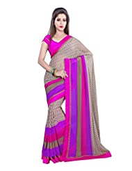 Ambaji Brown Georgette Printed Saree Sari Sarees