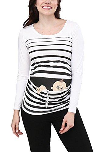Baby Flucht - Lustige witzige süße Umstandsmode / Umstandsshirt mit Motiv für die Schwangerschaft / Schwangerschaftsshirt, Langarm (Weiß, X-Large) (Schwangerschafts Weiße Tee)