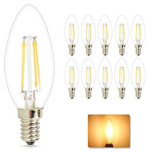 Mengjay® 10 pezzi pacchetto E14 lampadina LED sostituisce 40W - bianco caldo 2200-2700 Kelvin - 4W 360 Lumen - 360 °