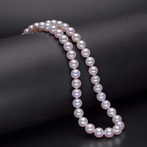 Lnyy Collar de Perlas Naturales Collar de Perlas de mar akoya japonés Collar de Perlas de Palacio Redondo Deslumbrante