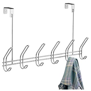 InterDesign Classico Door Clothes Hanger with 6 Double Hooks, Door Hooks for Jackets, Hats or Towels, Made of Metal, Chrome