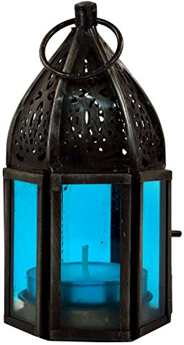 Guru-Shop Orientalische Metall/Glas Laterne in Marrokanischem Design, Windlicht Klein, Türkis, Eisen, Farbe: Türkis, 11,5x5x5 cm, Deko Teelicht, Teelichtgefäße Marokkanische Laterne Türkis