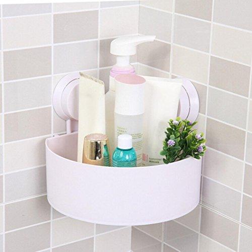 Sensail Etagère de Douche, Ventouse en plastique de salle de bains de cuisine d'angle de support de stockage de support d'étagère de support (Blanc, 15X15X7.5cm)