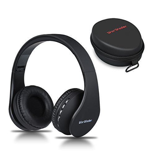 Bluetooth Kopfhörer Over Ear,Kabellose Headset Stereo Wireless Bluetooth-Kopfhörer mit Mikrofon Klappbares Design für iPhone, Android, PC und andere Bluetooth by WorWoder (Schwarz) Wireless-pc Stereo