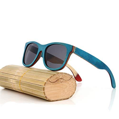 DAIYSNAFDN Schwarze hölzerne Sonnenbrille handgemachte natürliche Skateboard-hölzerne Mannfrauen polarisierte Sonnenbrille 6