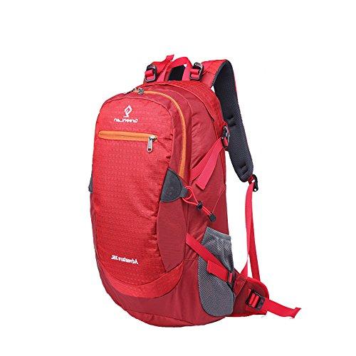 greeenlan Outdoor Sport 35L Wasserdicht Wandern Rucksack Casual Daypacks Klettern Bergsteigen Tasche Travel Trekking Rucksack mit Regen Cover Rot