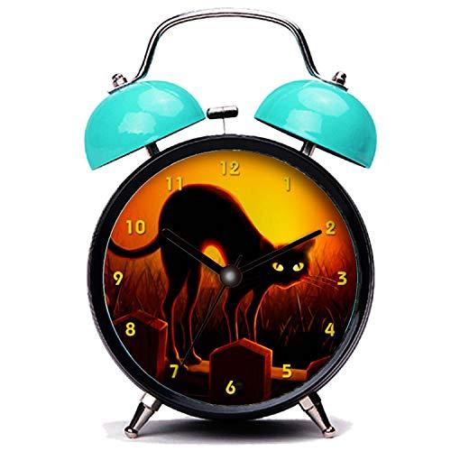 girlsight Blauer Wecker, Nette Katze Halloween beängstigend Schwarze Katze leuchtende Augen Twin Bell Wecker mit Nachtlicht