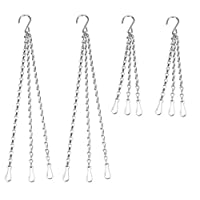 NewZC Hanging Chain 4 Pack 3 Leg Chain with Clip and Hook for Bird Feeders Planters Lanterns Ornaments - 2 Pieces 30 Inch and 2 Pieces 16 Inch Replacement Set of Hanging Basket Metal Chains Silver