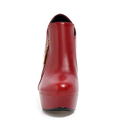 Rein Rund Damen Stiefel Absatz Leder Allhqfashion Pu Rot Hoher Zehe Reißverschluss 64xPnHw