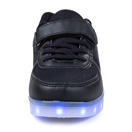 SGoodshoes Garçon Fille LED Sports Baskets Chaussures 7 Couleu USB Charge LED Lumineux Clignotante Chaussures Enfants Noir
