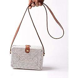 Hamkaw - Bolso Cruzados para Mujer White Rectangle Rattan Bag