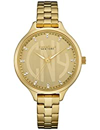 Caravelle New York Rose Gold–Reloj de cuarzo para mujer con oro esfera analógica pantalla y pulsera de oro amarillo 44l206