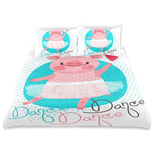 ttwäsche, Bettlaken & Kissenbezüge, Spannbetttücher aus Flanell, für Doppelbett, 100% gebürstete Baumwolle, Biber, Bettbezug und 2 Kissenbezüge, süßes Ferkel tanzend ()