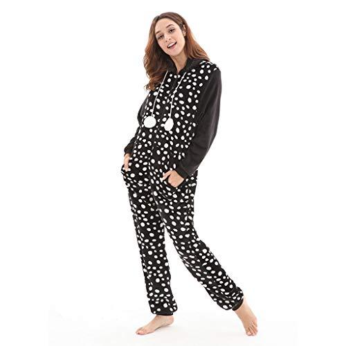 bobo4818 Drucken Mit Kapuze Flanell Damen Langarm Onesies Trainingsanzug Non Footed Pyjamas Einteiler Erwachsene Nachtwäsche Overall