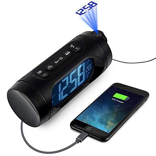 OESFL Luce di Notte Snooze Nixie Orologio di Ricarica USB FM Radio Sveglia Orologio Elettronico Digitale A LED da Tavolo Scrivania Orologio Proiettore con