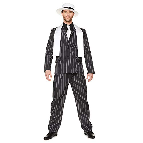 Gangster Boss Mens Fancy Dress 20s Mafia Pinstripe -
