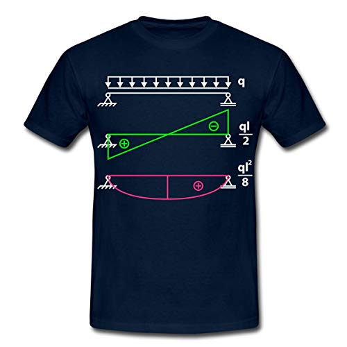 Spreadshirt Holz Bauingenieur Formel Q L Quadrat Achtel Männer T-Shirt, L, Navy