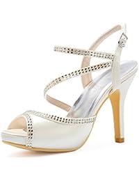 Baile de satén zapatos 2018 de baile zapatos de baile de las mujeres Zapatos Peep Toe T Tipo diamantes de imitación correa del tobillo tAF0MTkXP