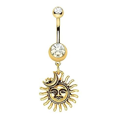 Gold überzogenes freie Kristall Sonne Mond und Stern baumeln Chirurgenstahl Bauchn 1,6 mm x 10 mm (Gold Überzogenes Onyx Stud)