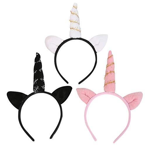 Zoylink 3PCS Halloween Headband Cat Ear Horn Decor Party Headband Hair Hoop for Birthday