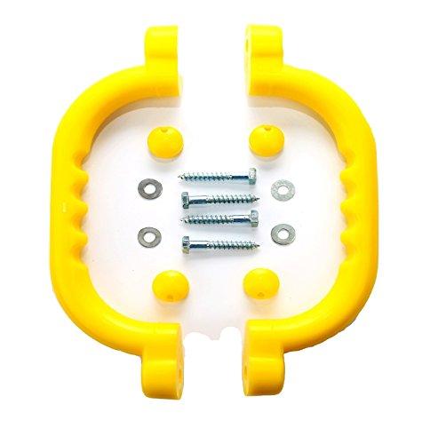 HIKS 2er-Set Haltegriffe/Handläufe, gelb, ideal für Klettergerüste, Baumhäuser und Spielhäuser