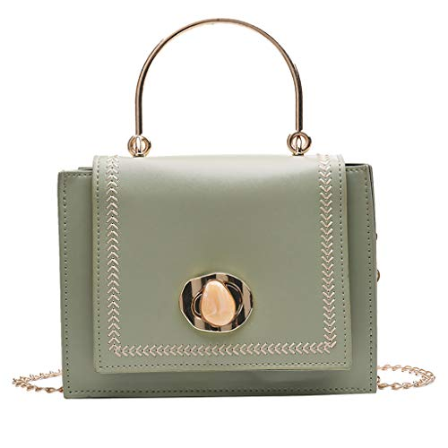 TIFIY Damen Rucksack Damenmode Kontrastfarbe Umhängetasche Kette Diagonal Cross Bag Handtasche Arbeits Täglich Bankett Elegant Tasche(Grün)