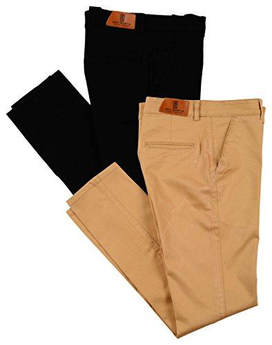 Ben Martin Men's Regular Fit Cotton Trousers (CMB-TRS-BLACK-TRS-KHAKI-32_Combo of 2 )