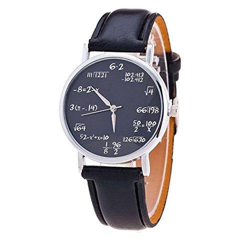 Reloj de pulsera Mixe ME44 unisex de piel y a la moda con diseño de fórmulas matemáticas, con mecanismo de cuarzo y estilo casual, para estudiantes adolescentes