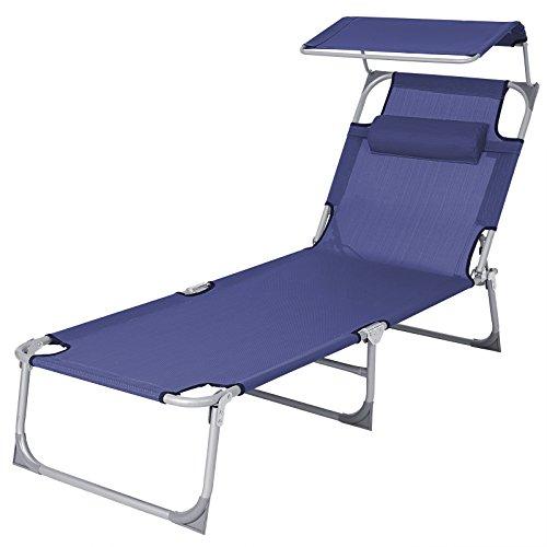 SONGMICS Sonnenliege mit Sonnendach extra groß, verstellbar, Liegestuhl klappbar mit Kopfkissen ,max. Belastbarkeit: 250 kg Grau 210 x 72 x 34 cm (Blau)
