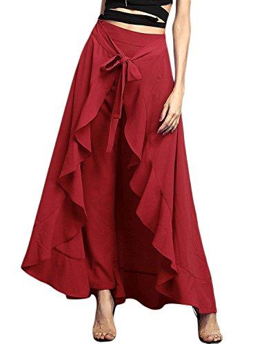 Uideazone Frauen Chiffon Culottes Hohe Taille Weites Bein Bowknot Rock Hose Rot (Hosen Chiffon Bein Breite)