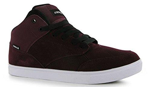 pour-homme-en-dentelle-jusqua-panneaux-superieur-mid-top-style-skate-chaussures-rouge-bordeaux-taill