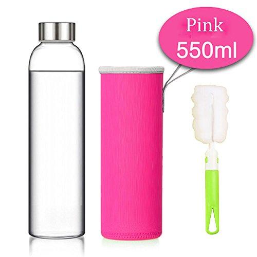 Elegante portátil botella de cristal con funda de nailon , Portátil