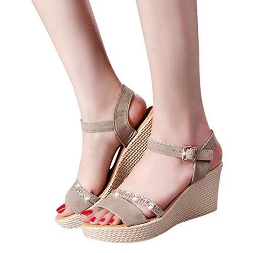 Sandalias Plataforma Vestir para Mujer, QinMM Zapatos de Baño Chanclas Verano de Playa Fiesta (38, Beige)