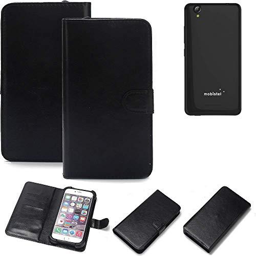 K-S-Trade® Wallet Case Handyhülle Für Mobistel Cynus E7 Schutz Hülle Smartphone Flip Cover Flipstyle Tasche Schutzhülle Flipcover Slim Bumper Schwarz, 1x