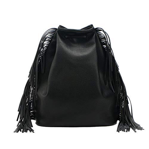 Datuo Einfarbig PU Leder Rucksack Frisch Mode Daypacks mit Fransen Schulrucksack Damen Schultasche (Schwarz) - Damen Leder Fransen