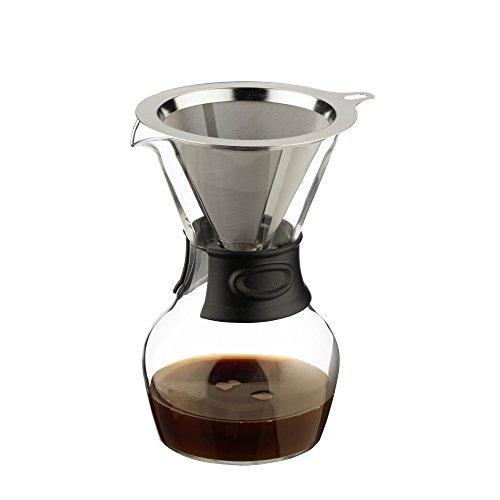 Café Cuillère Verser de café Font Carafe à décanter, Manche en Acrylique et en Acier Inoxydable réutilisable Filtre 580 ML