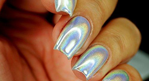 BW polvere Specchio Magico Effetto Ologramma metallico di unghie Nail Art pigmento Additivo olografico con doppia spugna penna