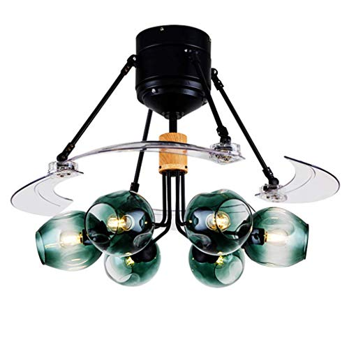Ventilador de techo 48 pulgadas con la luz y control remoto,lámparas de araña de cuatro palas de rotor...